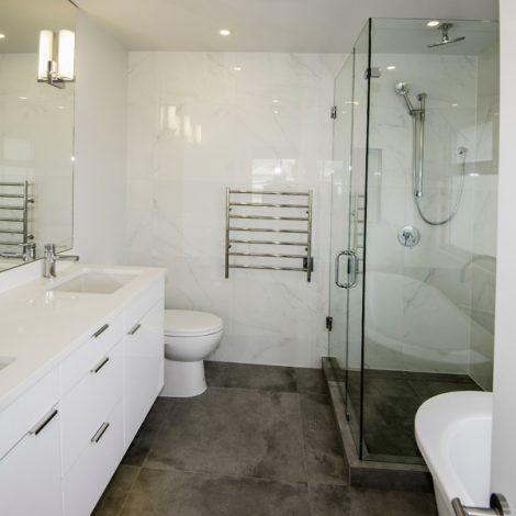 Bathroom – White & Gray Tile