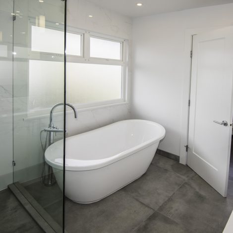 Bathroom – White & Gray Tile