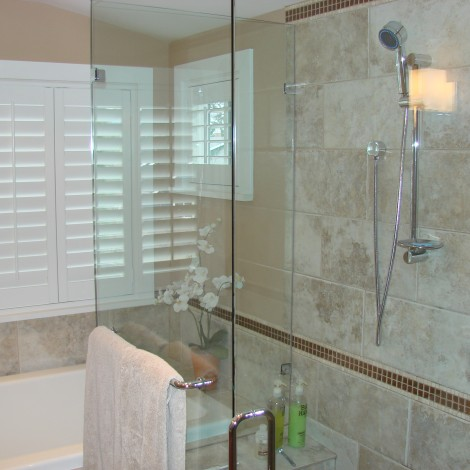 Granite Tiled Shower with Glass
