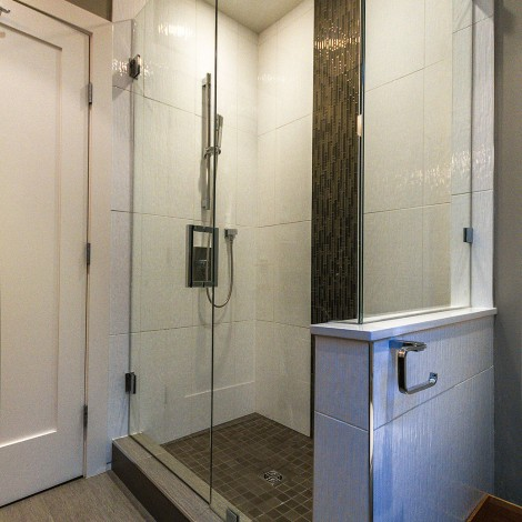 Glass Shower with Tile Work