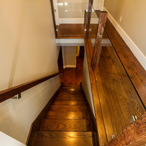 Finished Hardwood Stairwell