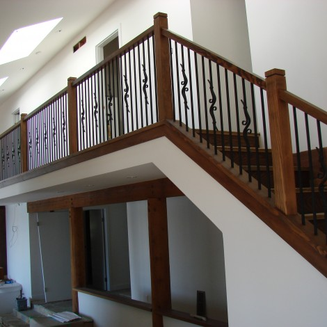 Wood Handrail with Decorative Balusters