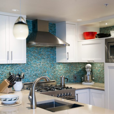 Kitchen with Mosaic Blue Tile