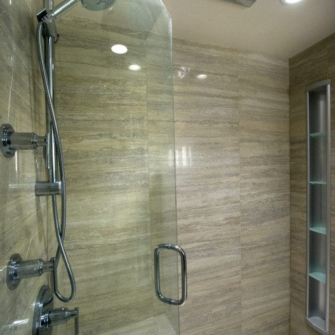 Large tile bathroom with glass door